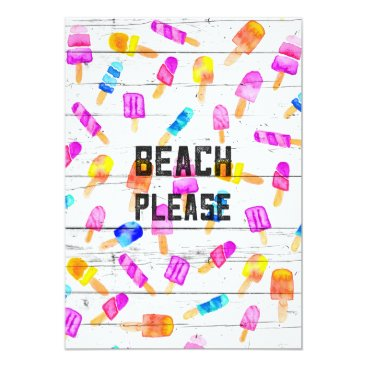 Beach Themed Beach please typography ice cream watercolor wood card