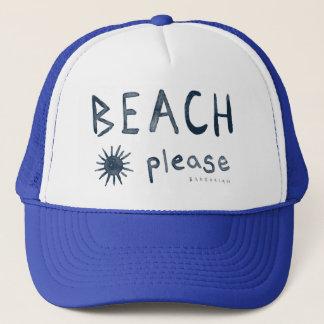 BEACH PLEASE Watercolor Beachy Quote Trucker Hat
