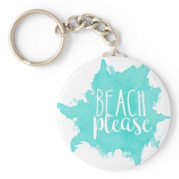 Beach Themed Beach Please White Keychain