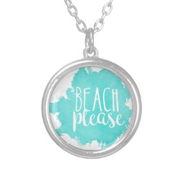 Beach Themed Beach Please White Silver Plated Necklace