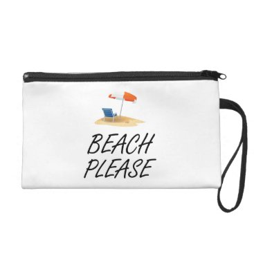 Beach Themed Beach Please Wristlet Purse