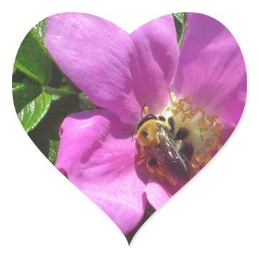 Beach Themed Beach Plum Rose with Bee Heart Sticker