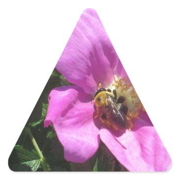 Beach Themed Beach Plum Rose with Bee Triangle Sticker