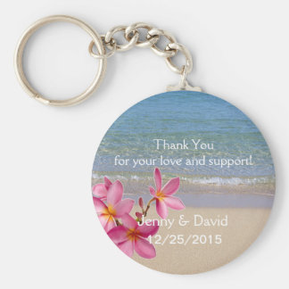 Beach Plumeria Personalized Key Ring Wedding Favor Keychain
