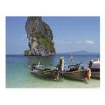 beach  Poda island Thailand long-tail peace boats Postcards