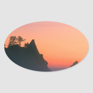 Beach Point Arches Sea Stacks Oval Sticker