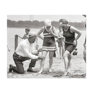 Beach Police, 1922. Vintage Photo Canvas Print