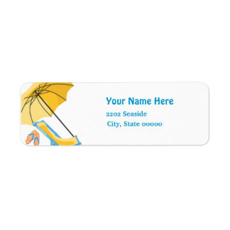 Beach Pool Party Return Address Label