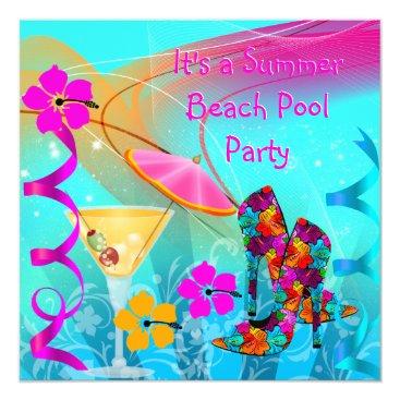 Beach Themed Beach Pool Party Summer Hot Pink Teal Card