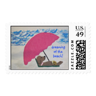 beach postage stamps with whimsical dog design