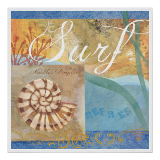 """Beach Poster 1, """"Surf with nautilus Shell"""""""