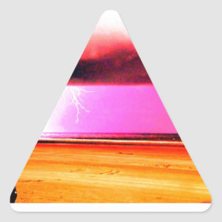 beach power Storms at the beach are beautiful Triangle Sticker