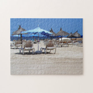 Beach Print with Lounge Chairs, Bamboo Umbrellas Jigsaw Puzzle