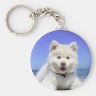 Beach Puppy Dog Fluffy White Animal Summer Photogr Keychain