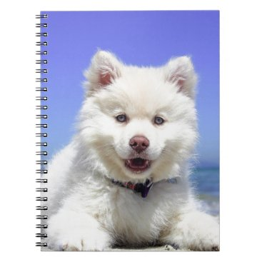 Beach Themed Beach Puppy Dog Fluffy White Animal Summer Photogr Notebook