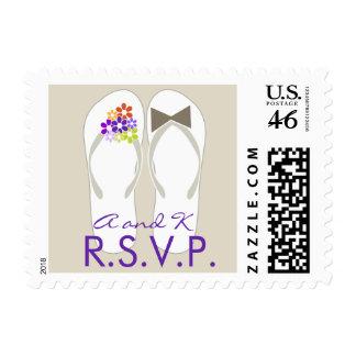 Beach Purple Daisy Flip Flops Wedding RSVP Stamps