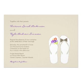 Beach Purple Daisy Flowers Flip Flops Wedding Custom Announcement