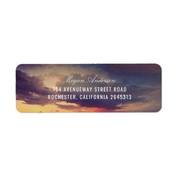 Beach Themed Beach Purple Sunset Sky Romantic Wedding Label