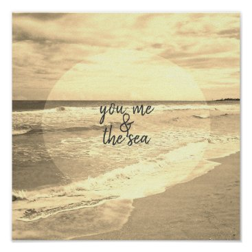 beach quote poster  sepia photograph