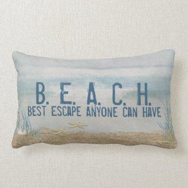 Beach Themed BEACH quote-tropical starfish on beach Lumbar Pillow