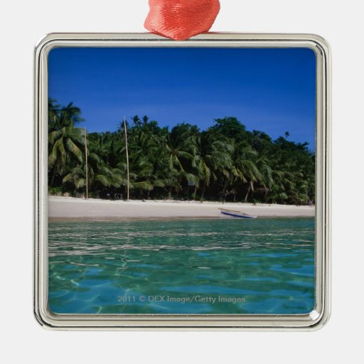 Beach, raft in a distance christmas ornament