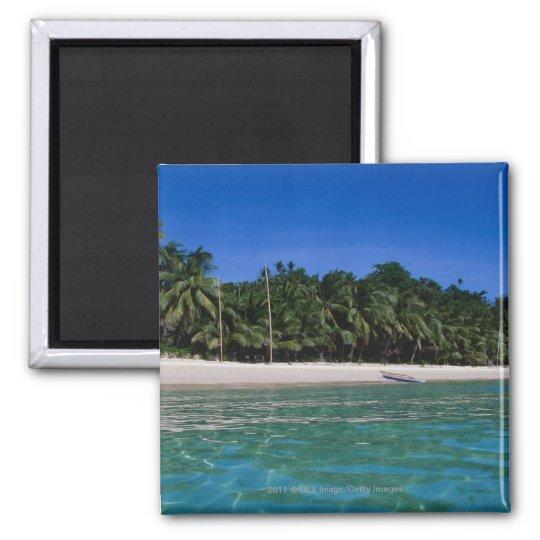 Beach, raft in a distance magnet