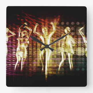 Beach Rave Party with Disco Dancing Girls Square Wall Clock