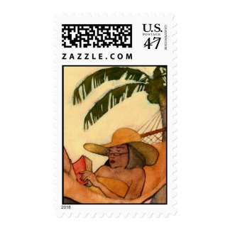 Beach Reading postage stamp