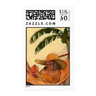 Beach Reading postage stamp