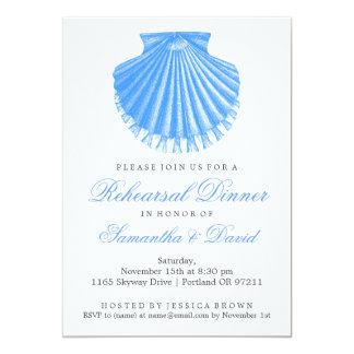 Beach Rehearsal Dinner Scallop Shell Blue Card