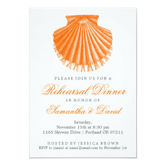Beach Rehearsal Dinner Scallop Shell Orange Card
