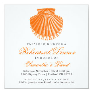 Beach Rehearsal Dinner Scallop Shell Orange 5.25x5.25 Square Paper Invitation Card