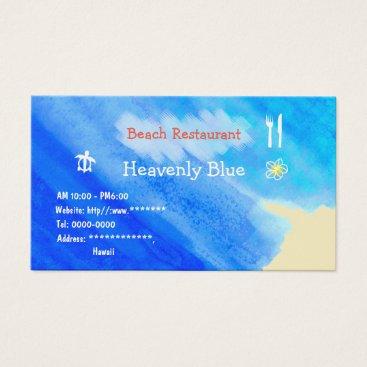 Beach Themed Beach Restaurant2 Blue sky ocean honu plemeria Business Card