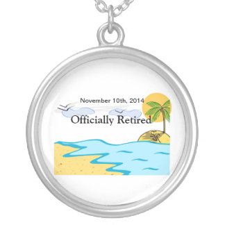 Beach Retirement Add Name And Date Silver Plated Necklace