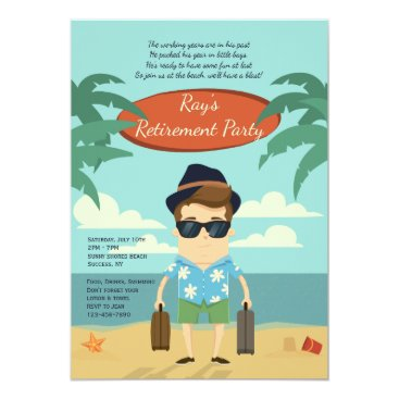 Beach Themed Beach Retirement Party Invitation