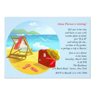 """Beach Retirement Party Invitation 5"""" X 7"""" Invitation Card"""