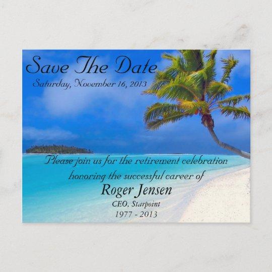 beach retirement save the date postcard zazzle com