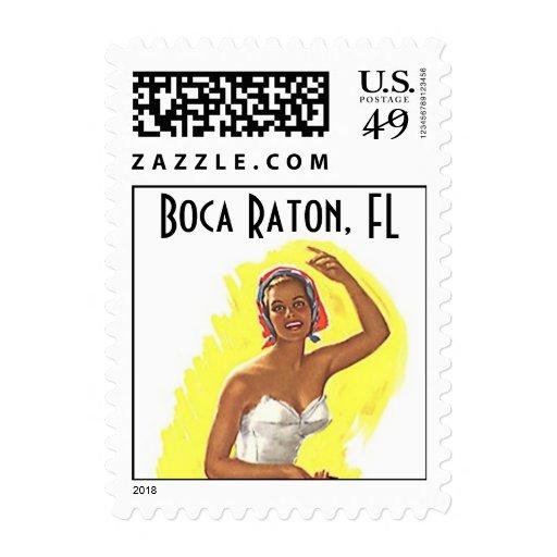Beach Retro Boca Raton FL Florida Stamps Vintage