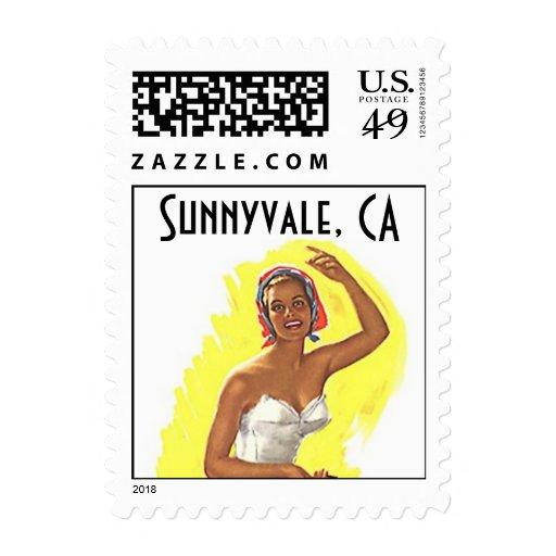 Beach Retro Sunnyvale CA California Stamps Vintage