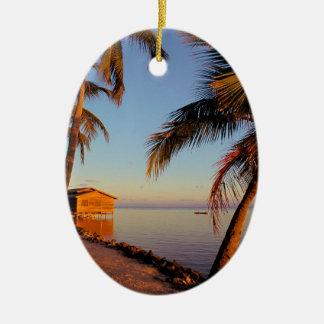 Beach Roatan Honduras Double-Sided Oval Ceramic Christmas Ornament
