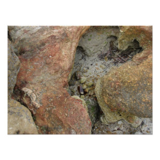 Beach Rock Formations Poster