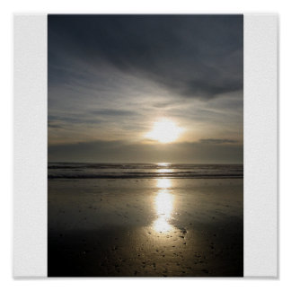 Beach Rocks and a Sunset - Tide Out Poster