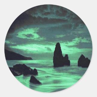 Beach, Rocks Classic Round Sticker