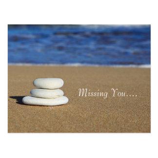 Beach Rocks Missing You Postcard