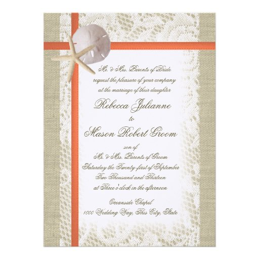Beach Romance Burlap and Lace Wedding Coral Custom Invites