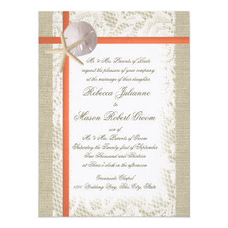 Beach Romance Burlap and Lace Wedding Coral 5.5x7.5 Paper Invitation Card