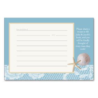Beach Romance Recipe Card Blue Table Cards