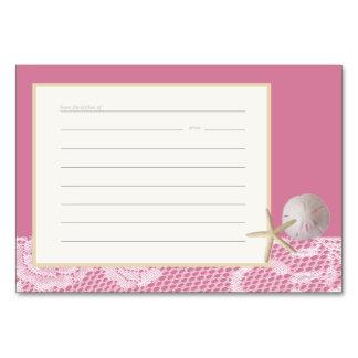 Beach Romance Recipe Card Pink Table Card