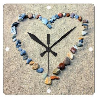 Beach Romantic Heart Sculpture Square Wall Clock