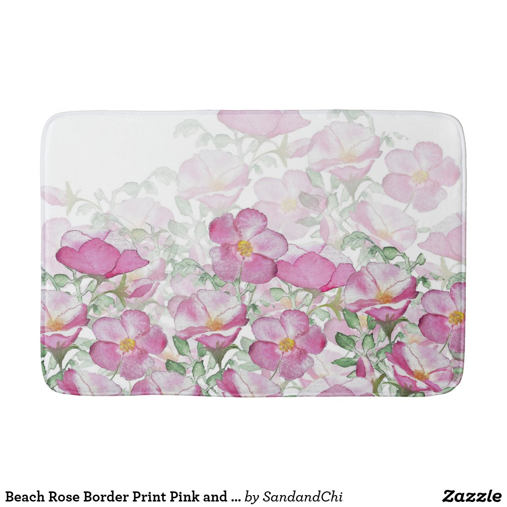 Beach Rose Border Print Pink and White Bath Mat